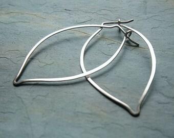 Silver Hoop Earrings Leaves Sterling Silver Leaf Hoops eco friendly hoop botanical jewelry gift for women