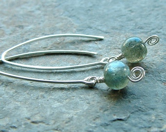 Silver Hoop Earrings Labradorite Open Hoops Wishbone Hoop, spring fashion jewelry