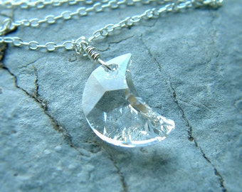 Crescent Moon Necklace Clear Crystal Winter Moon Sterling Silver Pendant moon jewelry Gift for Women
