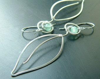 Long Silver Earrings Leaf Dangle Earring Sterling Silver Wire Wrap, spring fashion eco friendly jewelry