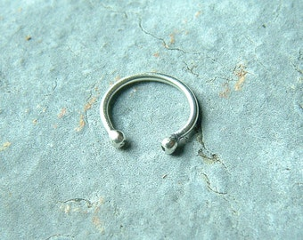 Silver Ear Cuff Medium Weight Simple Earcuff Earring, minimal eco friendly body jewelry