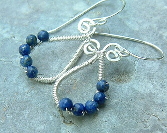 Small Paisley Earrings Silver Earring Wire Wrapped Blue Lapis Paisley dangle eco friendly jewelry, Gift Idea for Women