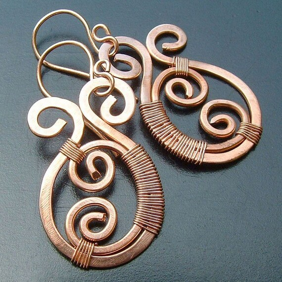 Copper Earrings Copper Wire Wrap Earrings Paisley, eco friendly copper jewelry spring fashion
