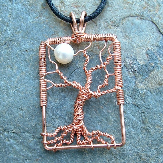 Tree Pendant  Moon Necklace Copper Wire Wrap Tree White Pearl Moon organic woodland Spring Fashion Jewelry