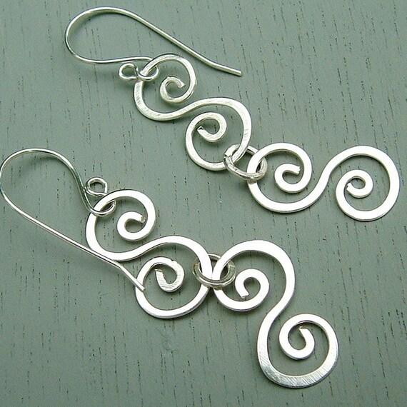 Silver Swirl Earrings Double Silver Swirls dangle earrings eco friendly, Gypsy