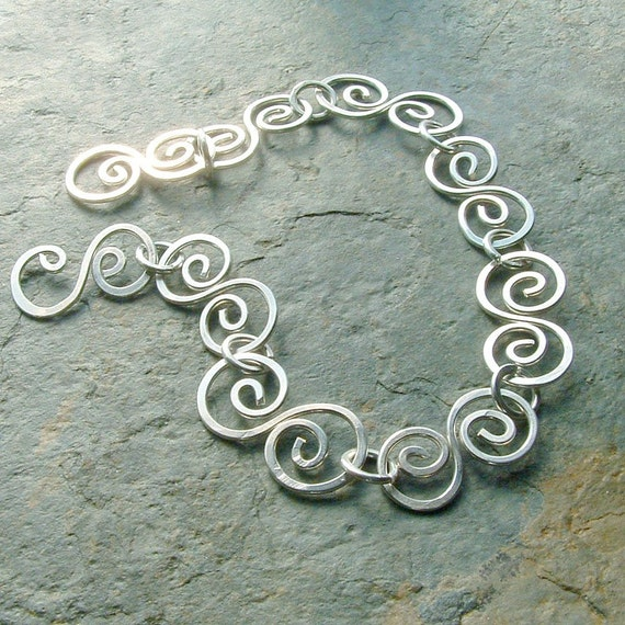 Silver Chain Bracelet Sterling Silver Swirl Handmade eco friendly spring fashion jewelry, Ocean Waves