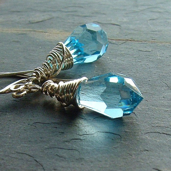 Blue Crystal Drop Earrings Silver Wire Wrap Dangle Earring Light Sapphire birthstone jewelry spring fashion