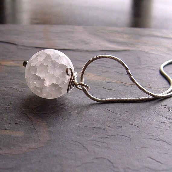 White Quartz Necklace Snow White Quartz Sphere, Oracle