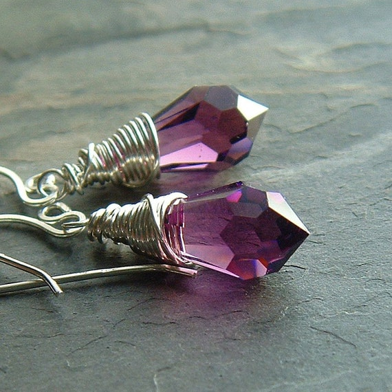 Crystal Earrings Purple Swarovski Crystal Drops Silver Wire Wrap Earrings December holiday fashion
