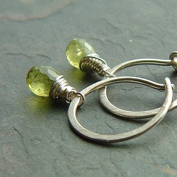 Small Silver Hoops Peridot Hoop Earrings Sterling Silver Wire Wrap hoop eco friendly birthstone jewelry, Key Lime