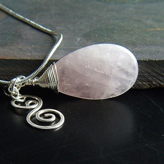 Rose Quartz Necklace Rose Quartz Teardrop Pendant Sterling Silver grecian jewelry