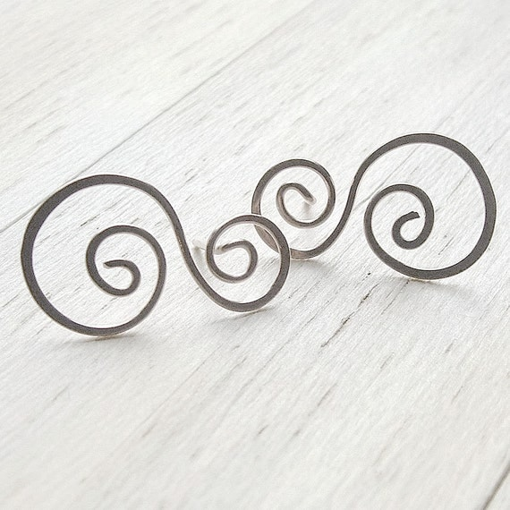 Silver Post Earrings Swirled Stud Earrings Spring fashion eco friendly jewelry, Waves