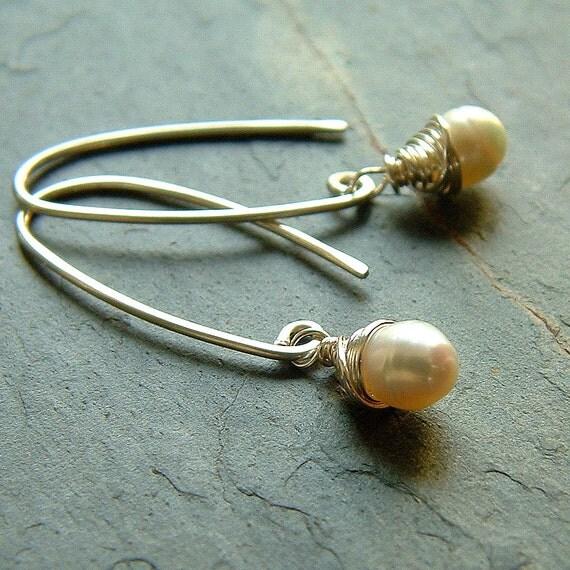 White Pearl Earrings Sterling Silver Wire Wrapped Freshwater Pearl Earrings june birthstone Womens jewelry