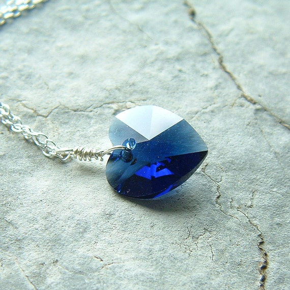 Heart Necklace Sterling Silver Layered Necklace Blue Heart Pendant for women, Bride Necklace, Something Blue Romantic Valentine gift for her