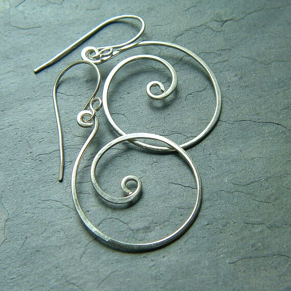 Silver Hoop Earrings Sterling Silver Coiled Hoops Dangle Hoop, eco friendly jewelry gift for her, Women