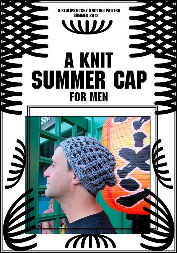 Mens Knit Summer Cap .PDF PATTERN ONLY