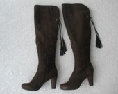 Vintage brown leather tall boots size 8