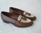 Vintage brown leather loafers tassles size 9 1/2