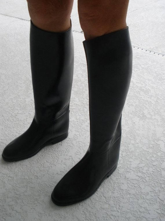 Size 8/8.5 rubber riding boots tall black aigle by vintageagogirl