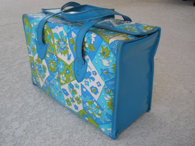 Vintage Diaper Bag 1960s Blue And Avocado Green