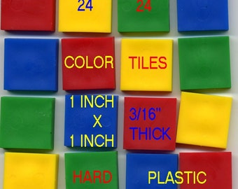 24 Plastic Color Tiles in 4 Bright colors for jewelry, altered art, collage, mixed media, mosaic etc.