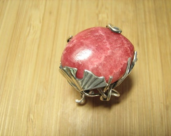 Rhodochrosite and Ginkgo Adjustable Vine Ring