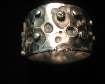 Sterling Silver Brutalist Spiral Textured Ring size 8.5