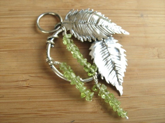 Birch Leaf and  Catkin circle Pendant