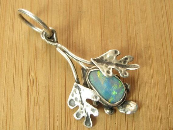 Triple Oak Leaf and Opal Pendant