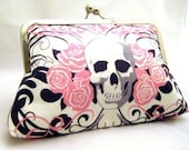 SKULLS - Pink Girly Skull and Roses Clutch - Lined in silk