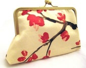 CHERRY BLOSSOM - flowering branch luxe silk lined clutch handbag