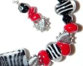 Animal Print Zebra Love Red White and Black Heart Bracelet and Earring Set