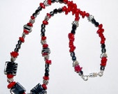 RESERVED FOR ENETSWISHES... Black, White and Red Zebra Print and Hearts Necklace