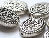 Large oval paisley metalic beads - Lot of 2 - Half Price