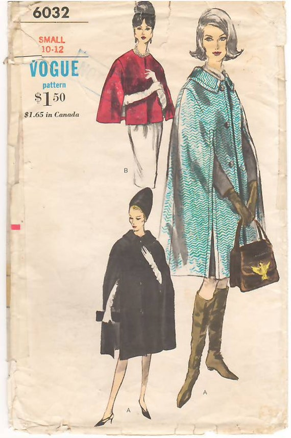 Vintage Pattern Vogue 6032 Misses' Cape in two Lengths  60s Size Small 10-12