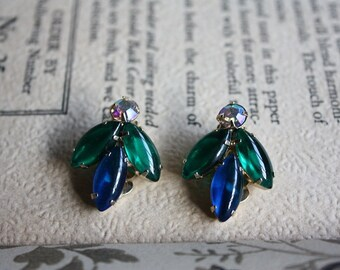 Vintage Clip On Blue and Green Earrings