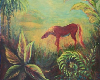 Scarlet Horse in Paradise painting