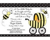Honey Bee Buggy- Baby Shower Invitation jpeg file