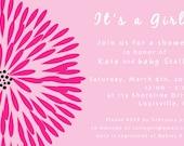 Pink Zinnia Shower Invitation