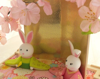 bunnyWedding Cake Topper-rabbit ,bunny ,Japanses style bride and groom with Kimono--k953