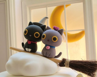 Halloween Limited Edition---kitty and cat Wedding Cake Topper
