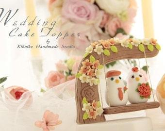 love birds with  swing wedding cake topper (K341)