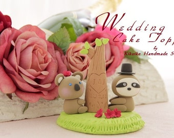 Koala and Sloth wedding cake topper,koala wedding cake topper---k766