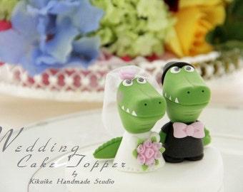 alligator,crocodile bride and groom Wedding Cake Topper---k744