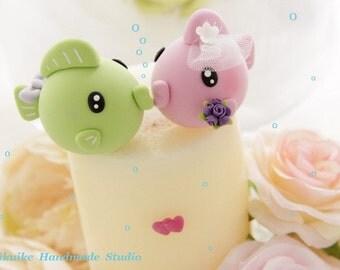 kissing fishes Wedding Cake Topper---k639