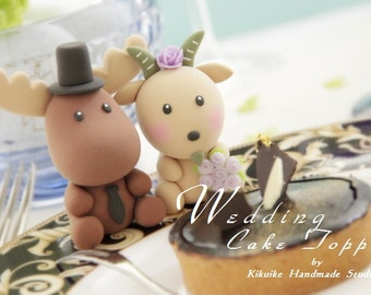 moose and goat Wedding Cake Topper---k731
