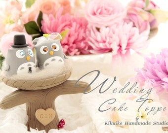 owls with nest and tree Wedding Cake Topper---k525