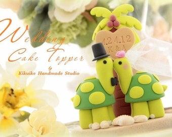 turtles Wedding Cake Topper-love  turtles with palm tree---k632