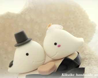 Whales Wedding Cake Topper---k631