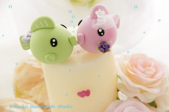 kissing fishes Wedding Cake Topper---k639